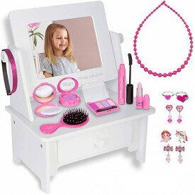 PixieCrush : Wooden Beauty Vanity Play Set Vanity Set with Mirror Gift for 女の子用 Aged 3 4 5 ,6 ,7 Vanity Set with Mirror プリンセス Toys ドレッサー 女の子おもちゃ おしゃれ【送料無料】【代引不可】【あす楽不可】
