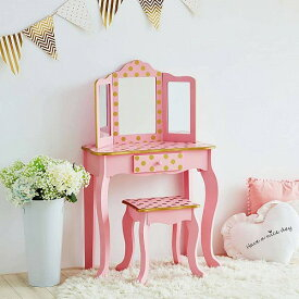 Teamson Kids Polka Dot Prints Gisele Vanity Table & Stool Multiple Finishes Pink/Gold ドレッサー 女の子おもちゃ おしゃれ【送料無料】【代引不可】【あす楽不可】