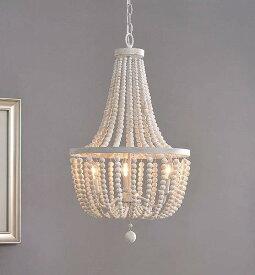 Kenroy Home Dumas White with Weathered Wood Beads 3 Light Chandelier おしゃれ シャンデリア【送料無料】【代引不可】【あす楽不可】