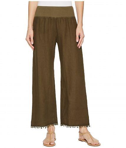 Three Dots スリードッツ レディース 女性用 ファッション パンツ ズボン Three Dots スリードッツ Cropped Pants w/ Pom Pom Trim - Nicoise