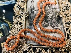 アンティークジュエリー15ct コラル グラス ネックレス 珊瑚 コーラルピンク