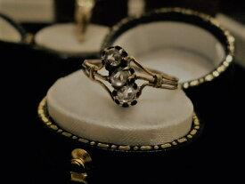 アンテークジュエリー 14ct sv ダイヤモンド リング 指輪 3連