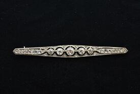 アンティーク ジュエリー 18ct プラチナ ダイヤモンド バー ブローチピン