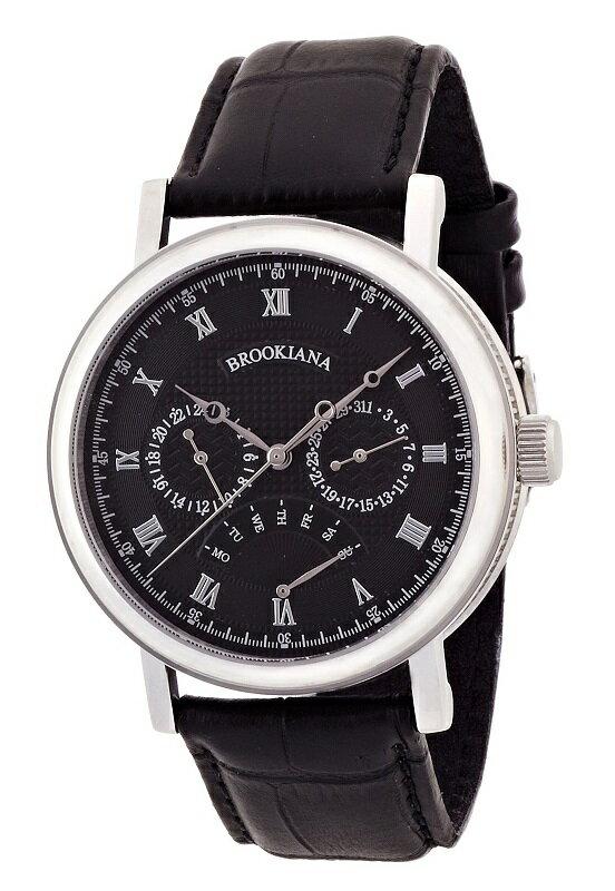 BROOKIANA(ブルッキアーナ) BA1657-BK マルチファンクションカレンダー レザーベルト メンズウォッチ 腕時計 【あす楽対応】