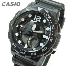 CASIO カシオ AEQ-100W-1A/AEQ100W-1A テレメモ アナデジ ブラック キッズ 子供 かわいい メンズ チープカシオ チプカシ 腕時計