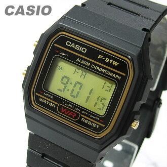 卡西欧 (卡西欧) F-91WG-9/F 91WG-9 标准金拨孩子/孩子们的可爱 ! 男女皆宜的手表便宜卡西欧手表
