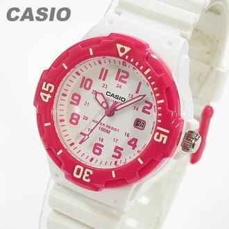 卡西欧 (卡西欧) LRW-200 H-4B/LRW200H-4B 体育齿轮军事粉红色 × 白叠加的孩子 / 孩子们的可爱! 便宜的卡西欧手表女士手表