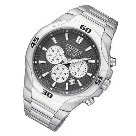 CITIZEN(シチズン) AN8020-51H クォーツ クロノグラフ メタルベルト ブラックダイアル メンズウォッチ 腕時計【あす楽対応】