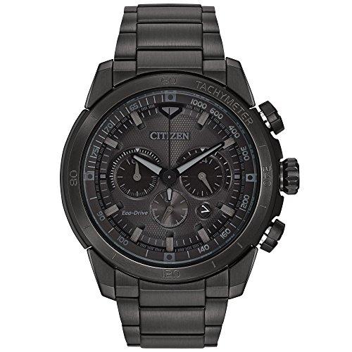 【ベゼルに小傷あり】CITIZEN シチズン CA4184-81E EcoDrive/エコドライブ ソーラー クロノグラフ オールブラック メタルベルト メンズウォッチ 腕時計