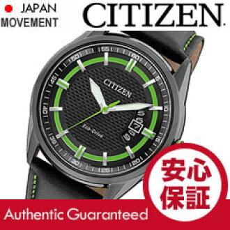 公民 (公民) AW1184 05E EcoDrive / 生态驱动太阳能黑色真皮皮带男装手表