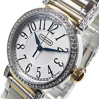 教练 (教练) 14501725 新麦迪逊/新麦迪逊黑色 x 黄金水晶装饰女士手表手表