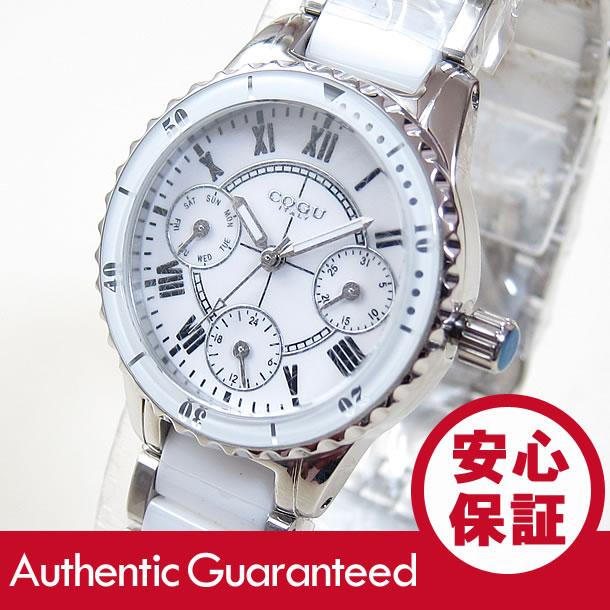 COGU コグ 313LM-BL セラミック マルチファンクションカレンダー ホワイト レディース 腕時計 【あす楽対応】