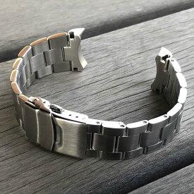 OYSTER スタイル 3連 316Lステンレス 無垢ベルト ラグ幅22MM ブラッシュ/つや消し 無垢セーフティ付きDバックル シルバー 替えベルト 腕時計用 MOD カスタム