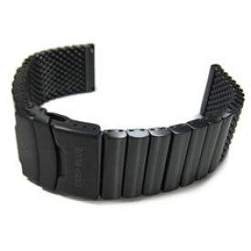 【メール便対応】【幅:22MM/24MM/26MM ステンレスベルト】 DEEP BLUE ディープブルー PVD-MESH ダイバーズウォッチブランドが選んだ 腕時計ベルト 316L 高純度 サージカルステンレス製 メタルベルト ブラックPVDコーティング ダイバーズストラップ 替えベルト 腕時計用