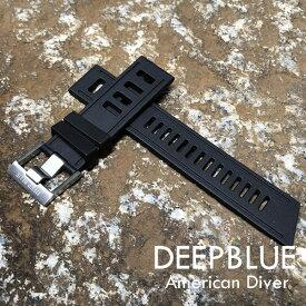 【ラグ幅:24MM/22MM 130/75】 DEEP BLUE ディープブルー HYDRO 91 H91BK DIVER 天然ゴム ダイバーズ ラバーベルト 替えベルト ブラック 腕時計用【あす楽対応】