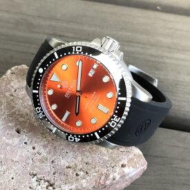 DEEP BLUE(ディープブルー)ダイバーズウォッチ MASTER 1000 II 44MM 330M/30気圧防水 SEIKO 自動巻きムーブメント セラミックべセル オレンジダイアル mstr442bkorgp 腕時計