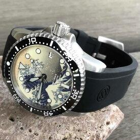 DEEP BLUE(ディープブルー)ダイバーズウォッチ DIVER1000 II 40MM 30気圧防水 SEIKO 自動巻きムーブメント セラミックべセル 浮世絵 波 日本画風 神奈川 津波 ブラックダイヤル m1k2arvint 腕時計