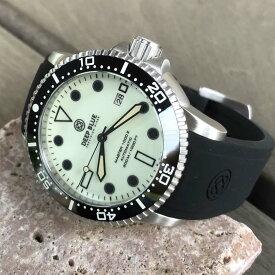DEEP BLUE(ディープブルー)ダイバーズウォッチ MASTER 1000 II 44MM 30気圧防水 SEIKO 自動巻きムーブメント セラミックべセル 全面蓄光 ルミナスダイアル MSTR442LUMI 腕時計