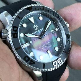 DEEP BLUE(ディープブルー)ダイバーズウォッチ MASTER 1000 II 44MM 330M/30気圧防水 SEIKO 自動巻きムーブメント セラミックべセル ブラックパールダイヤル M1KBKMOP 腕時計