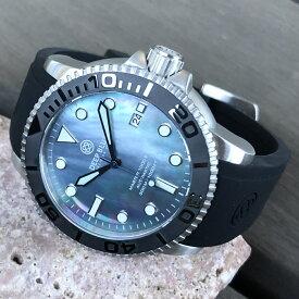 DEEP BLUE(ディープブルー)ダイバーズウォッチ MASTER 1000 II 44MM 330M/30気圧防水 SEIKO 自動巻きムーブメント セラミックべセル プラチナパールダイヤル M1KBKMOP 腕時計
