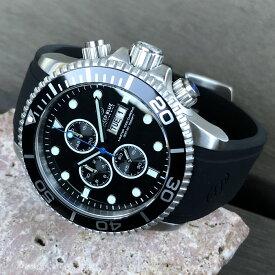 DEEP BLUE(ディープブルー)ダイバーズウォッチ MASTER 1000 クロノグラフ 44MM 30気圧防水 Citizen/シチズン Miyota OS 10クォーツムーブメント ブラックセラミックべセル ブラックダイヤル M1KCROBK腕時計