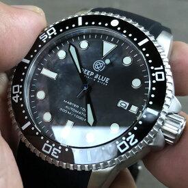 DEEP BLUE(ディープブルー)ダイバーズウォッチ MASTER 1000 II 44MM 330M/30気圧防水 SEIKO 自動巻きムーブメント セラミックべセル ブラックパールダイアル mstr442bkbkmop 腕時計