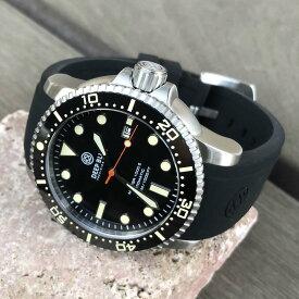 DEEP BLUE(ディープブルー)ダイバーズウォッチ MASTER 1000 II 44MM 30気圧防水 SEIKO 自動巻きムーブメント セラミックべセル ビンテージ ブラックダイアル MSTR442BLKVINT 腕時計