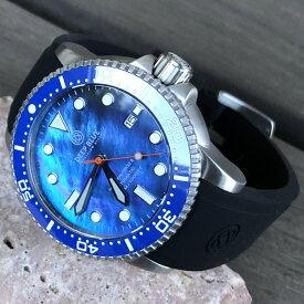 DEEP BLUE(ディープブルー)ダイバーズウォッチ MASTER 1000 II 44MM 30気圧防水 SEIKO 自動巻きムーブメント セラミックべセル ブルーパールダイヤル M1KBKMOP 腕時計