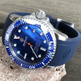 DEEP BLUE(ディープブルー)ダイバーズウォッチ DIVER 1000 II 40MM 330M/30気圧防水 SEIKO 自動巻きムーブメント セラミックべセル パールブルーダイアル ブルーベルト dvr402blmopbl 腕時計