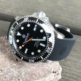 DEEP BLUE(ディープブルー)ダイバーズウォッチ MASTER 1000 II 44MM 330M/30気圧防水 SEIKO 自動巻きムーブメント セラミックべセル ブラック×秒針オレンジ mstr442bkorsec 腕時計