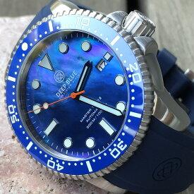 DEEP BLUE(ディープブルー)ダイバーズウォッチ MASTER 1000 II 44MM 330M/30気圧防水 SEIKO 自動巻きムーブメント セラミックべセル ブルーマザーオブパール MSTR442BLMOP 腕時計