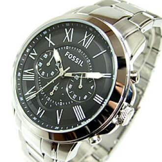 FOSSIL (fossil) FS4736 GRANT / grant chronograph silver metal belt black casual men's watch