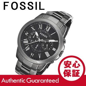 化石 (化石) FS4831 格兰特 / 授予计时银金属腰带暗蓝色表盘男士手表