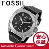 化石 (化石) FS4928 现代机 / 现代人现场计时皮革皮带黑/银男装手表