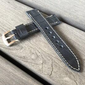 バックル幅/ラグ幅(22-24MM/20-22MM)日本製 ハンドメイド パネライ スタイル 型押しクロコダイル ヴィンテージオイル仕上げ&生成り イタリアンレザー ヌメ革/レザーベルト バックル付き 腕時計 替えベルト SP-H003VI-BK