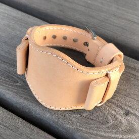 バックル幅/ラグ幅(22-24MM/20-22MM)日本製 ハンドメイド パネライ スタイル イタリアンレザー 生成りのナチュラル ヌメ革/レザーベルト 47MMセンターベース(土台)セット バックル付き 腕時計 替えベルト SP-H003-NA