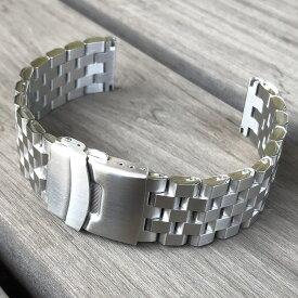 LEVEL7 5連 無垢ステンレスベルト 22MM LV7-5l1-BS ブラッシュ/つや消し セーフティ付きDバックル シルバー 替えベルト 腕時計用