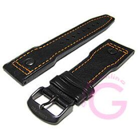 LUM-TEC (ルミテック) 24mm対応 レザーベルト PVDバックル オレンジステッチ 純正 替えベルト 腕時計