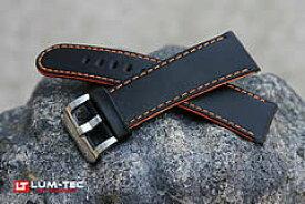 【24MM/22MM 120/80】 LUM-TEC (ルミテック) ST315-24 本皮レザーベルト/ストラップ オレンジセンターコンポジット ブラック 替えベルト 腕時計用