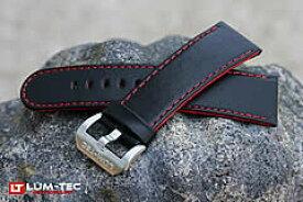【24MM/22MM 120/80】 LUM-TEC (ルミテック) ST316-24 本皮レザーベルト/ストラップ レッドセンターコンポジット ブラック 替えベルト 腕時計用