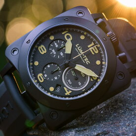 【500本限定生産】 LUM-TEC/LUMTEC ルミテック BULL42 A24 SEIKO SII VK67 日本製 クォーツムーブメント PVD ブラック ミリタリーウォッチ ラバーベルト メンズウォッチ 腕時計