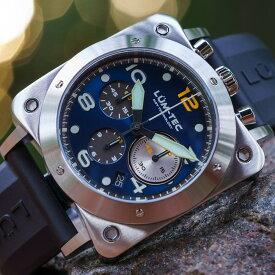 【500本限定生産】 LUM-TEC/LUMTEC ルミテック BULL42 A25 ブルーダイアル SEIKO SII VK67 日本製 クォーツムーブメント ミリタリーウォッチ ラバーベルト メンズウォッチ 腕時計