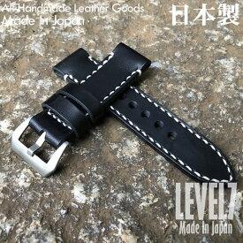 【選べる3サイズ/幅22MM/24MM/26MM対応】 パネライ スタイル オイル染料仕上げ スムース ヌメ革/レザーベルト ブラック×ホワイトステッチ 総手縫い バックル付き 腕時計 替えベルト SP-H002C6-BKWH