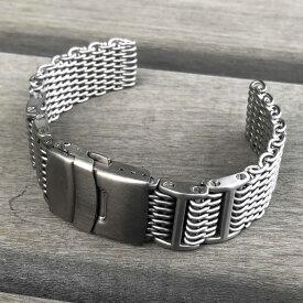 LEVEL7 SHARK/シャーク オメガスタイル 1.2mmワイヤー ステンレスメッシュベルト 12whisb ブラッシュ/つや消し セーフティ付きDバックル チタンカラー 替えベルト 腕時計用 SEIKO、CITIZEN、PANERAIなど、メンズウォッチ対応