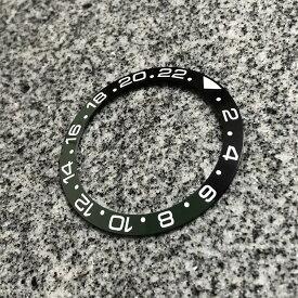 【SEIKO MOD カスタムパーツ】セラミック製 ベゼルインサート スロープ型 GMT 24H表記 ブラック×グリーン カスタム用パーツ LEVEL7