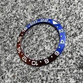 【SEIKO MOD カスタムパーツ】セラミック製 ベゼルインサート スロープ型 GMT 24H表記 ブルー×レッド/ペプシカラー カスタム用パーツ LEVEL7