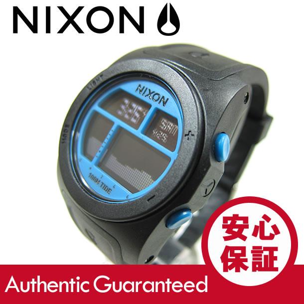 NIXON (ニクソン) A385-930/A385930 THE RHYTHM/リズム デジタル ブラック/スカイブルー ラバーベルト メンズウォッチ 腕時計