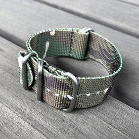 【20MM】【22MM】【24MM】【ZULU/NATOベルト】 LEVEL7(レベルセブン) CHZ-5CAMO 5RING プレミアムナイロン レギュラーサイズ ストラップバンド カモフラ/迷彩柄 替えベルト ミリタリー 腕時計用