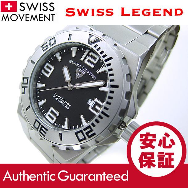 SWISS LEGEND(スイスレジェンド) 10008-11-SB Expedition/エクスペディション ブラック×シルバー メタルベルト ダイバーズスタイル メンズウォッチ 腕時計 【あす楽対応】