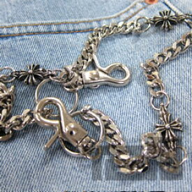 【T2N】 ウォレットチェーン シルバーブラス 真鍮合金 T2N67 クロスモチーフ Wallet Chain Silver Brass 財布用 【あす楽対応】